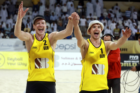 Lars Fluggen and Markus Bockermann of Germany celebrate winning the final